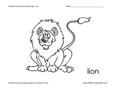 Lion Coloring Page Worksheet