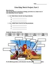 lion king movie project part 1 2nd 4th grade worksheet lesson planet. Black Bedroom Furniture Sets. Home Design Ideas