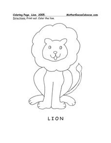 Lion Picture Worksheet