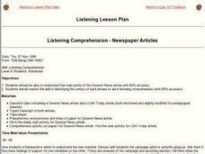 Listening Comprehension - Newspaper Articles Lesson Plan