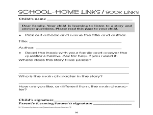 Listening to a Story and Answering Questions School/Home Links/Book Links Worksheet