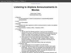 Listening to Airplane Announcements in Movies Lesson Plan