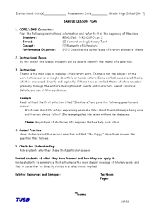 Literary Elements: Theme Lesson Plan