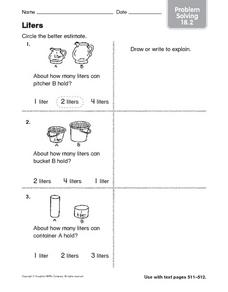 Liters Problem Solving 18.2 Worksheet