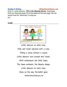 Little Dancers- Rhyming Words Worksheet Series Worksheet