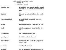 """Little House in the Big Woods"" Chapter 1- Vocabulary Words Worksheet"