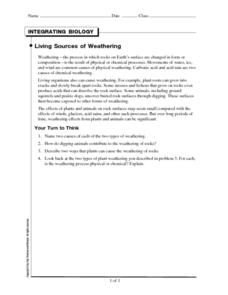 Living Sources of Weathering Worksheet