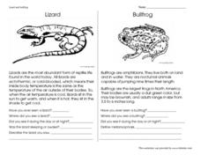 Lizard and Bullfrog Worksheet