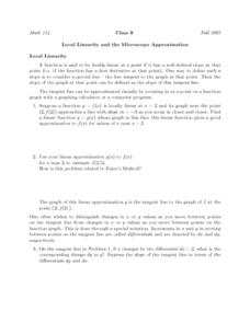 Local Linearity and the Microscope Approximation Worksheet