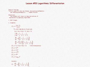 Logarithmic Differentiation Lesson Plan