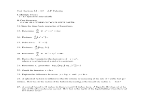 Printables Ap Calculus Worksheets logarithms test sections 4 1 3 a p calculus 10th 12th worksheet