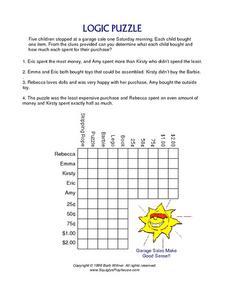 logic puzzle shopping at a garage sale 4th 5th grade worksheet lesson planet. Black Bedroom Furniture Sets. Home Design Ideas