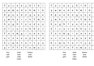 Long A Word Search Worksheet