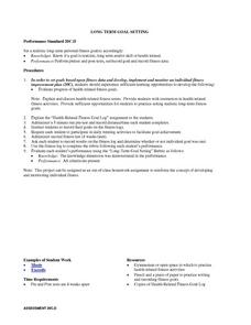 Long Term Goal Setting Lesson Plan