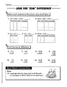 "Look for ""Sum"" Difference Worksheet"