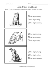 Look, Think, and Read- Sentences Describing Pictures- Dogs Worksheet