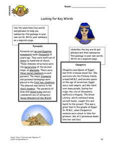 Looking for Key Words Lesson Plan
