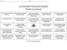 Louisiana Folklife Bingo (North Louisiana) Worksheet