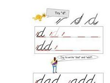 Lower Case Letter D (Cursive) Worksheet