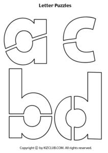 Lower Case Letter Puzzles Worksheet