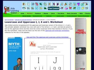 Lowercase and Uppercase I, J, K and L Worksheet Worksheet