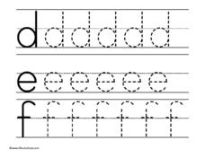 Lowercase d, e, and f Worksheet