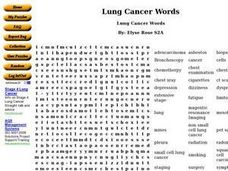 Lung Cancer Words Worksheet