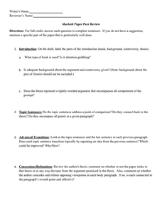 Printables Peer Review Worksheet macbeth paper peer review 9th 12th grade worksheet lesson planet worksheet