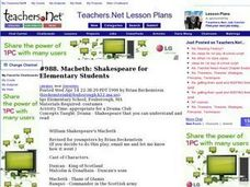 Macbeth: Shakespeare for Elementary Students (Elementary, Literature) Lesson Plan
