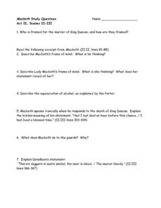 Macbeth Study Questions, Act II, Scenes II-III Worksheet
