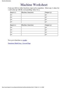 Machine Worksheet Lesson Plan