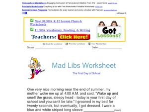 Mad Libs Worksheet - The First Day of School Worksheet