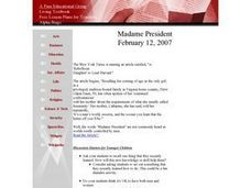 Madame President Lesson Plan