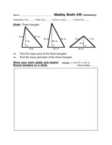 Madley Brath #35 (Homework) Area and Perimeter of Triangles Worksheet