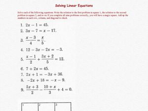 Worksheets Solving Linear Equations Worksheets magic square solving linear equations 7th 9th grade worksheet worksheet
