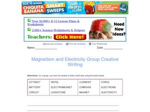 magnetism and electricity creative writing 4th 6th grade worksheet lesson planet. Black Bedroom Furniture Sets. Home Design Ideas