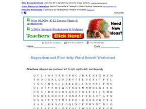 Magnetism and Electricity Word Search Worksheet 3rd - 4th ...