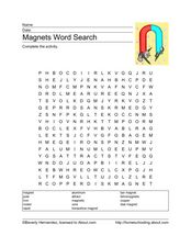 Magnets Word Search Worksheet