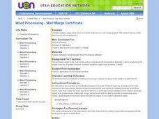 Mail Merge Certificate Lesson Plan