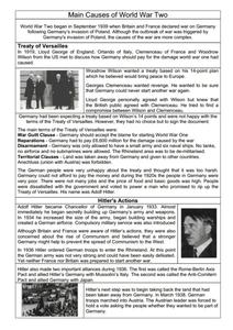 Main Causes of World War Two Worksheet