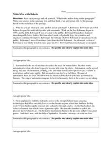 Free Main Idea Worksheets 7th Grade - Templates and Worksheets