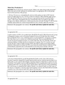 Main Idea Worksheet 5 4th - 8th Grade Worksheet | Lesson Planet