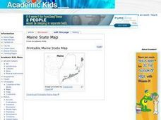 Maine State Map Worksheet