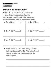 Make a 10 with Coins Worksheet