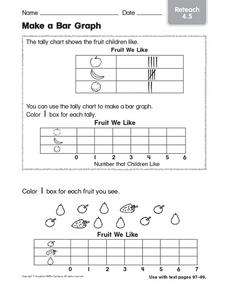 Make a Bar Graph: Fruit Children Like Worksheet