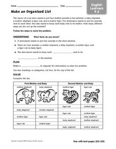 Make An Organized List Worksheet