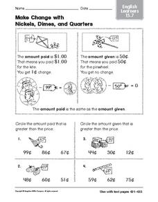 Make Change with Nickels, Dimes, and Quarters: ELL Worksheet