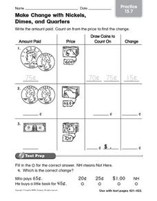 Make Change with Nickels, Dimes, and Quarters Worksheet