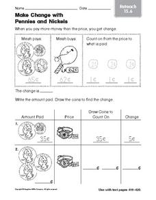 Make Change With Pennies and Nickels: Reteach 15.6 Worksheet