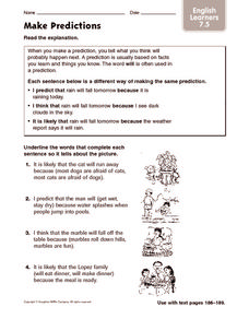 Make Predictions: English Learners Worksheet